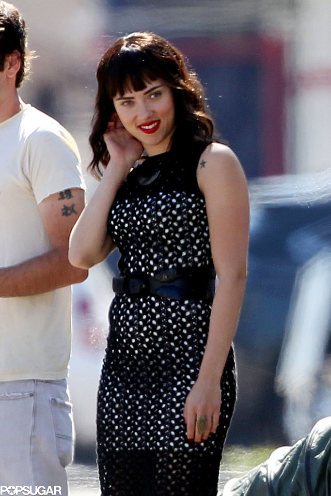 Scarlett Johansson was back to work in LA after filming a commercial in NYC with Matthew McConaughey.