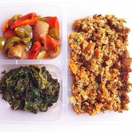 An intense workout led to this nutrient-dense lunch: leftover grilled veggies and spinach served alongside a mix of minced chicken breast, even more veggies, and quinoa. Source: Instagram user jacylnhhw
