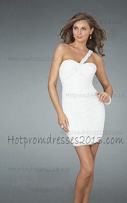 One Shoulder With Floral Beaded White Dresses for Prom
