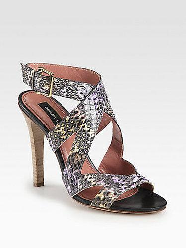 Derek Lam Freda Snakeskin Crisscross Sandals