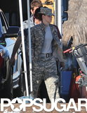Kristen Stewart wore fatigues on the set of Camp X-Ray in LA.