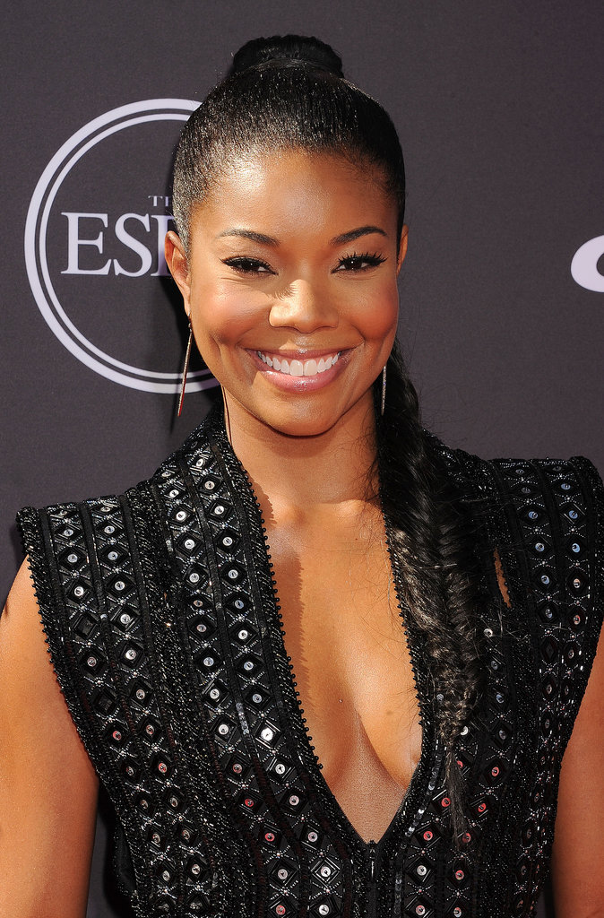 Gabrielle Union attended the ESPYs to support her boyfriend, Dwyane Wade, wearing a slicked-back ponytail that was twisted into an extralong fishtail braid.