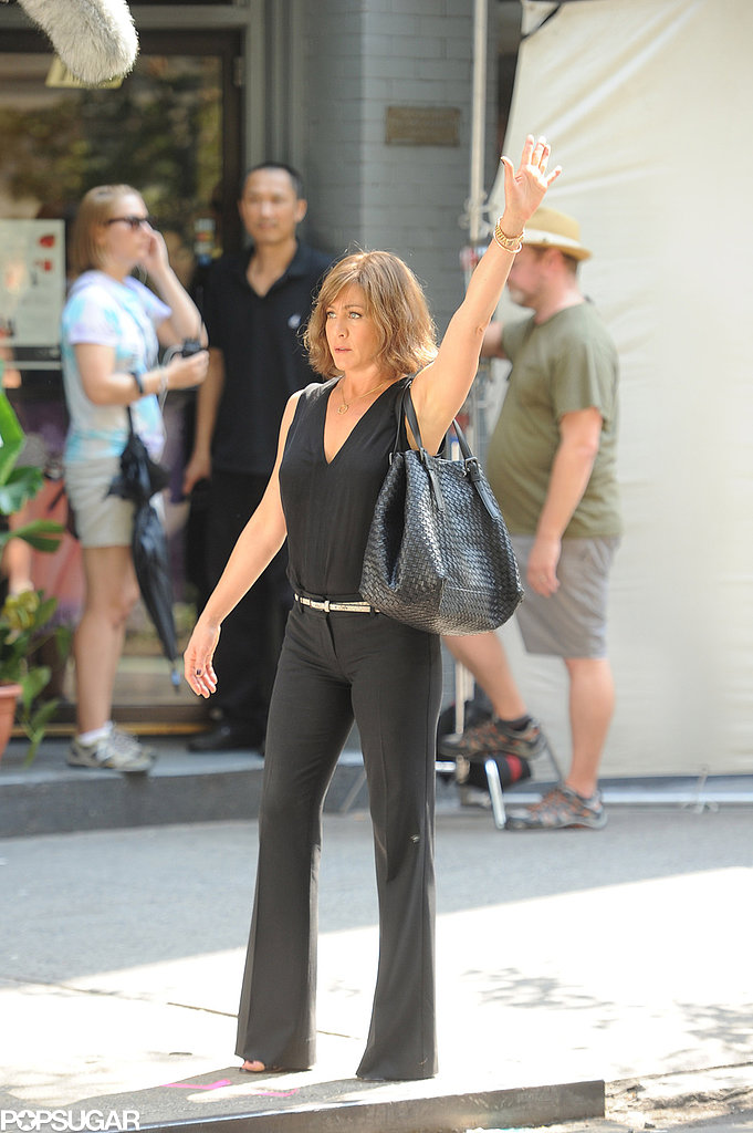 Jennifer Aniston showed her new bob on the set of Squirrels to the Nuts.