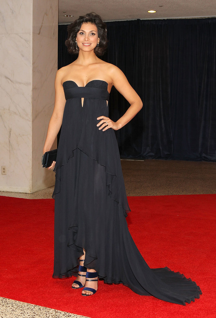 At the White House Correspondents' Dinner cocktail reception, Morena drew all eyes with this subtle cutout strapless J. Mendel gown.