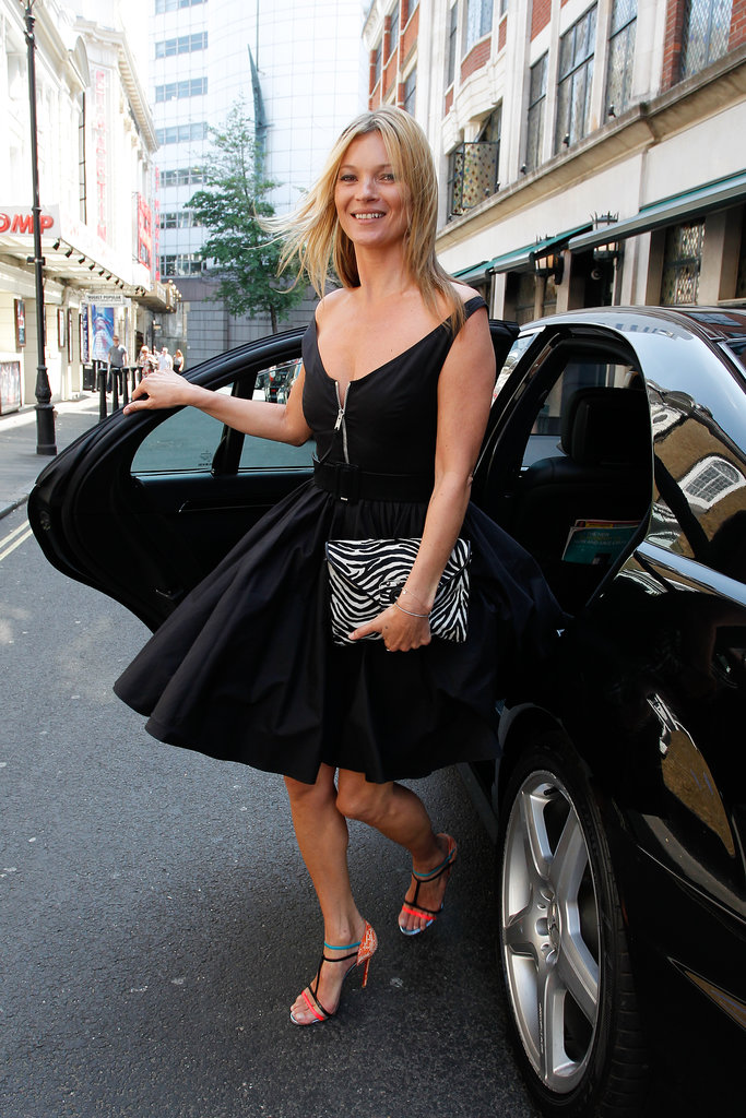 Kate Moss arrived for her sneak peek event in London.