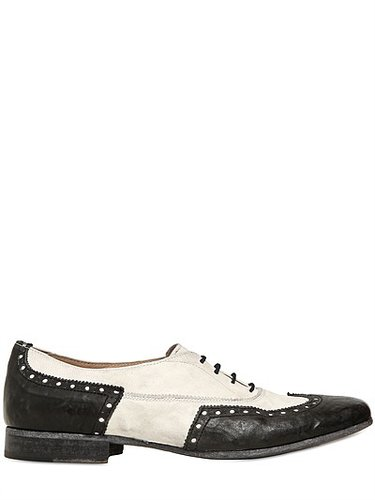 20mm Washed Leather Oxford Lace-Up Shoes