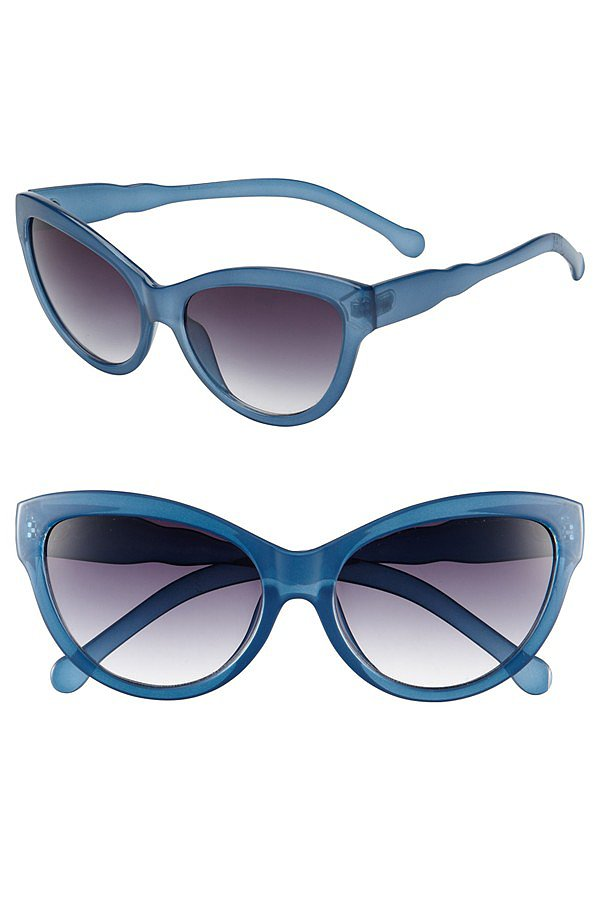 Retro-lovers can update their sunglass collection with Outlook's frosty blue cat eyes ($38).