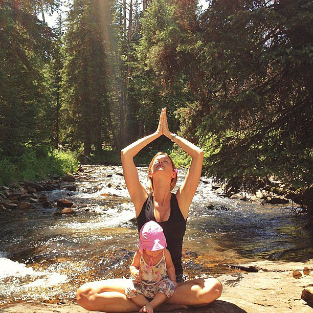 Gisele Bündchen practiced some yoga with little Vivian there for added support. Source: Instagram user giseleofficial