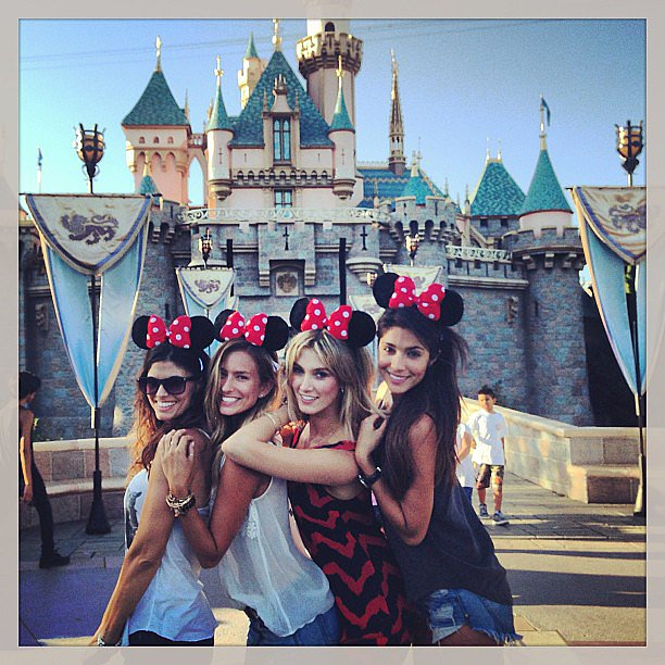 Zoe Ventoura, Renee Bargh, Delta Goodrem and Pia Miller sported Minnie Mouse ears at the Happiest Place on Earth: Disneyland. Source: Instagram user deltagoodrem