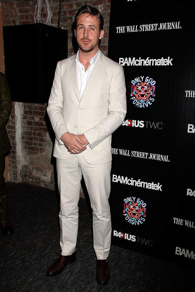 A cream suit! Only Ryan Gosling could make this risky style step look effortless. He's at the premiere of new film Only God Forgives in Brooklyn, New York, on July 17.