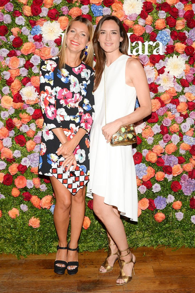 Natalie Joos and Zani Gugelmann looked lovely against Max Mara's floral backdrop in New York.