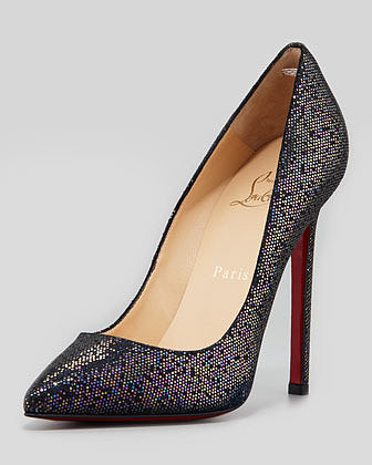 Christian Louboutin Pigalle Glitter Red Sole Pump, Blue