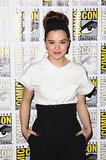 "On the press line for Ender's Game, Hailee Steinfeld opted for an Audrey Hepburn-inspired topknot and bright pink lips, Pati Dubroff Professional Lip Balm Crayon in Dark Orchid Berry. ""It added a great pop of color but sheer enough to keep the look modern,"" explained makeup artist Stephen Sollitto."