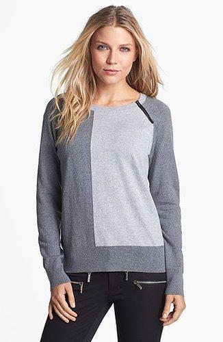 Amber Sun Zip Trim Colorblock Crewneck Sweater | Nordstrom