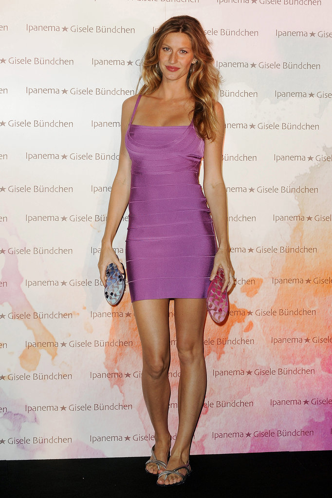 For a 2010 Ipanema Footwear event in Paris, Bündchen stunned in a violet bandage dress from Hervé Léger.