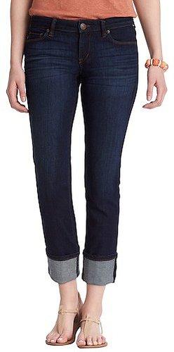 Modern Straight Cuffed Cropped Jeans in Crisp Blue Wash