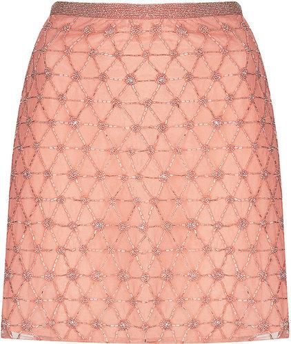 Pink Embellished Mini Skirt