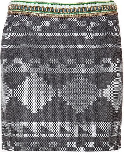 Matthew Williamson Embellished Waist Woven Mini Skirt in Grey