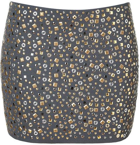 Bailey 44 Grey Allover Studded Neurosis Mini-Skirt