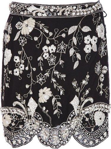 Genny Vintage floral beaded mini skirt
