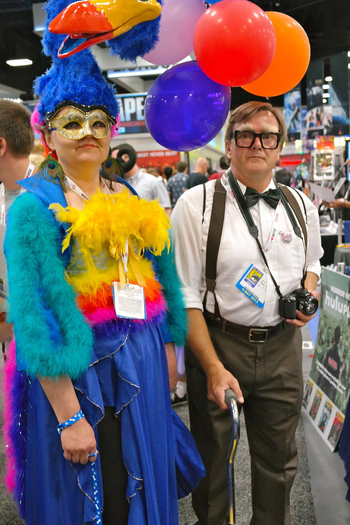 This couple went as Kevin and Carl Fredricksen from Pixar's Up.