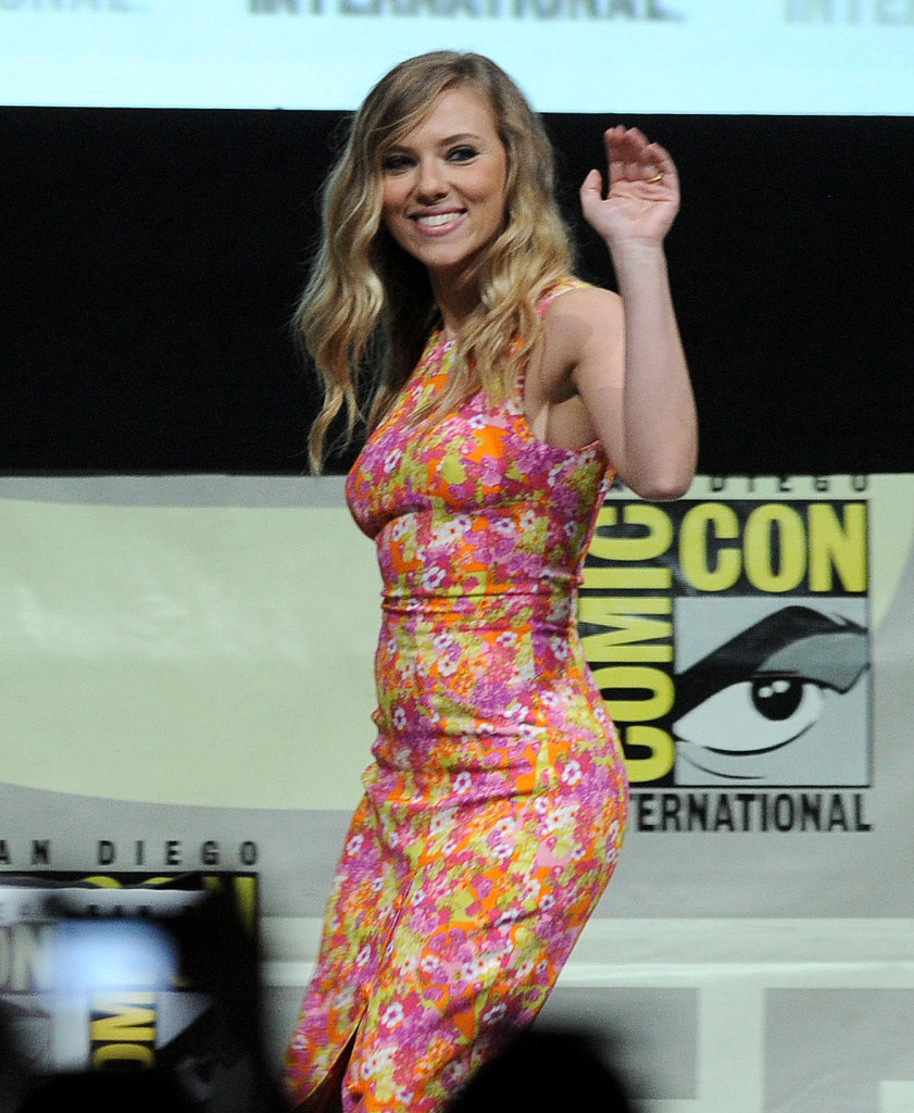 Scarlett Johansson waved to fans at the Captain America: The Winter Soldier panel.