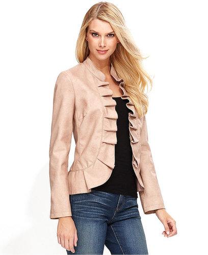 INC International Concepts Jacket, Faux-Leather Ruffle