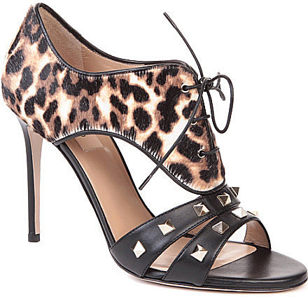 VALENTINO Rockstud calf hair and leather sandals