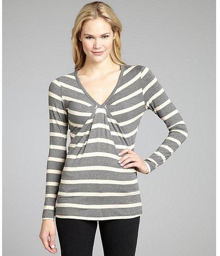 Wyatt grey and ivory stripe jersey pleated v-neck top