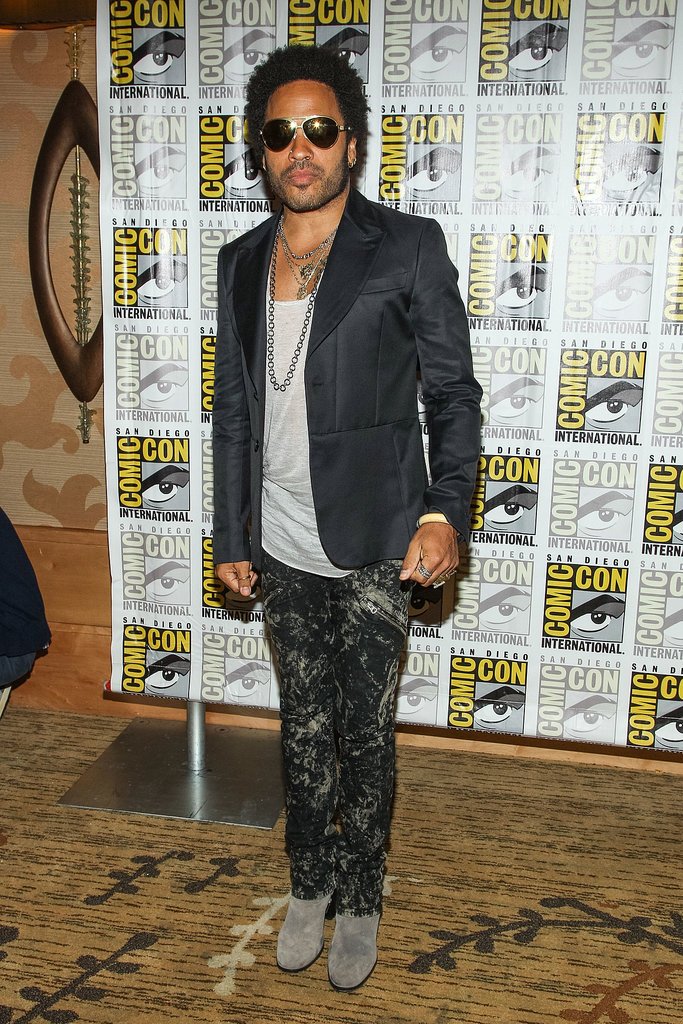 Lenny Kravitz arrived at the Catching Fire panel.