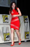 Emilia Clarke wore a bright red Christopher Kane dress and pumps to a panel discussion for HBO's Game of Thrones.
