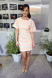 Minka Kelly looked fresh and summery in a peach-and-white striped dress.