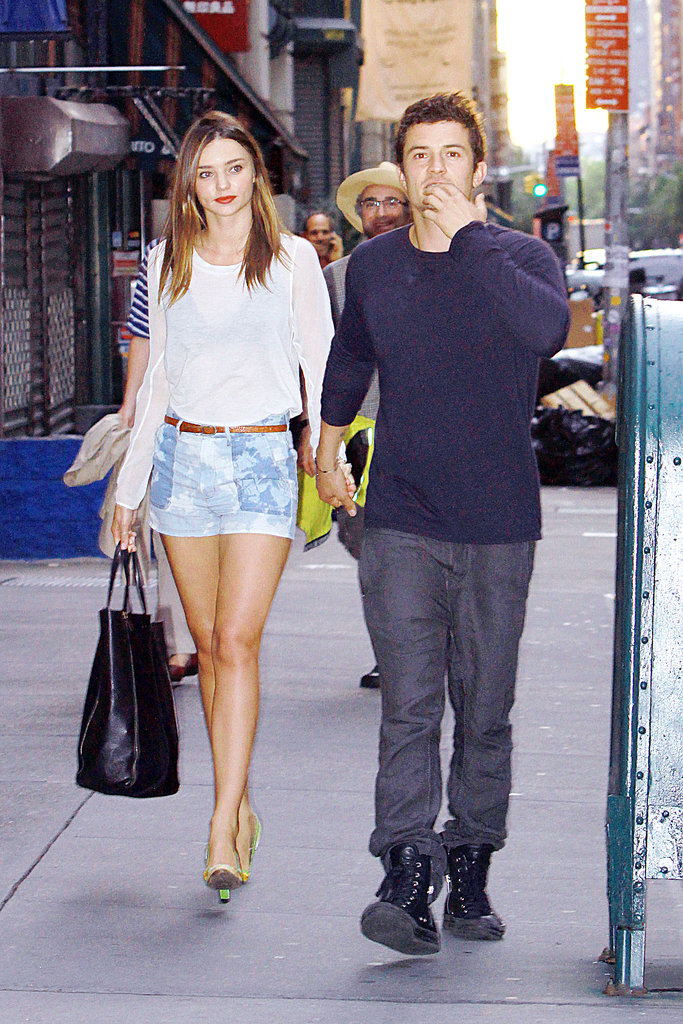 A supermodel's off-duty uniform? Denim cut-offs and a casual white top.