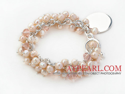 Fashion Style Natural Pink Freshwater Pearl and Pink Crystal Bracelet with Metal Chain