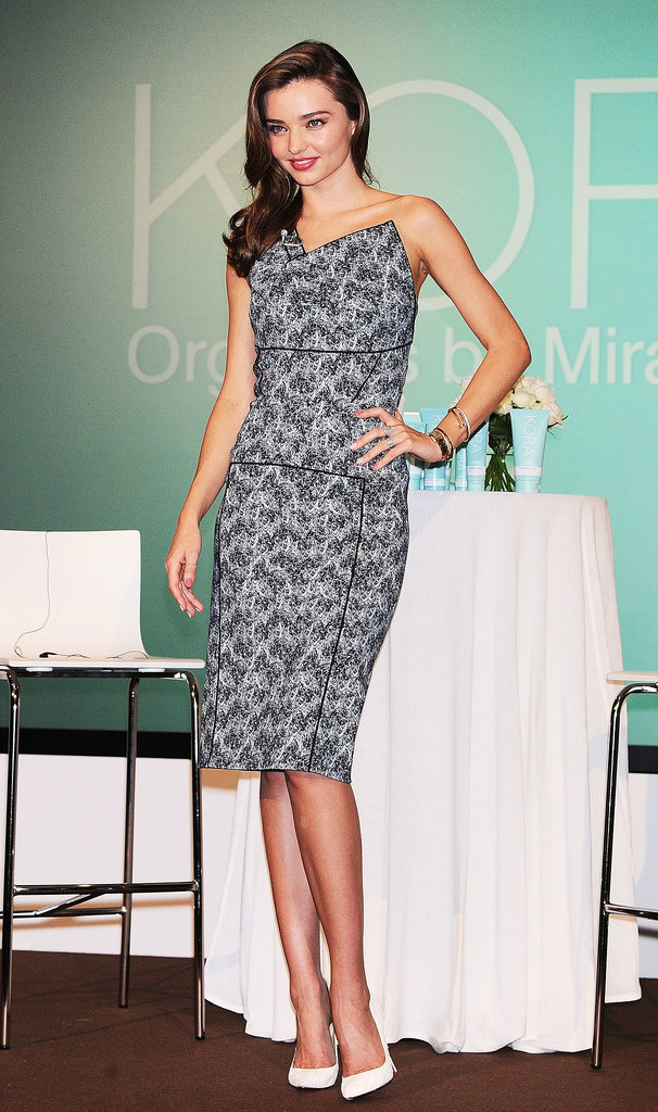 Miranda Kerr looked fittingly stunning while attending a press conference for Kora Organics by Miranda Kerr.