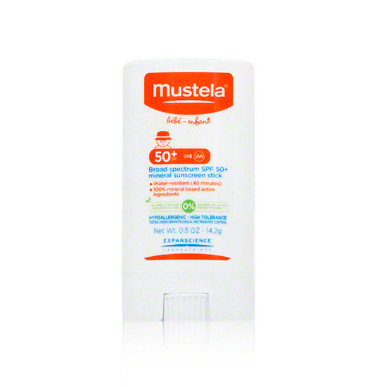 Mustela Broad Spectrum Mineral Sun Stick ($16) is a favorite for its easy application and high SPF count.