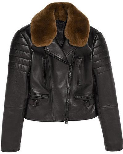 Burberry Prorsum Rabbit-trimmed leather biker jacket