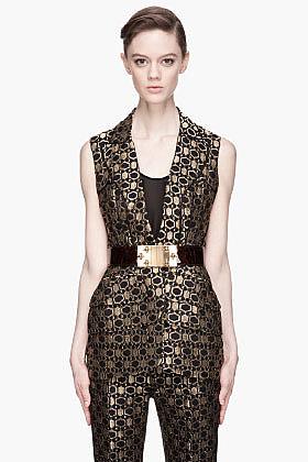 ALEXANDER MCQUEEN Black and gold honeycomb Jacquard peplum Vest
