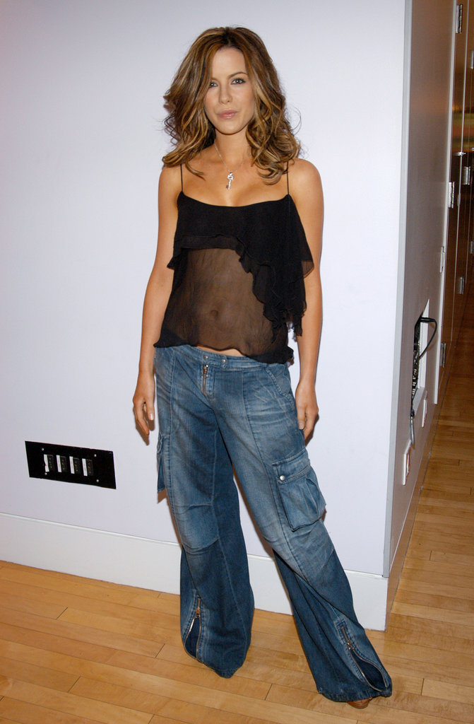 For a 2003 visit to MTV's TRL, the brunette stunner worked a sheer ruffled tank with baggy cargo denim to create a hip-hop-ready combo.