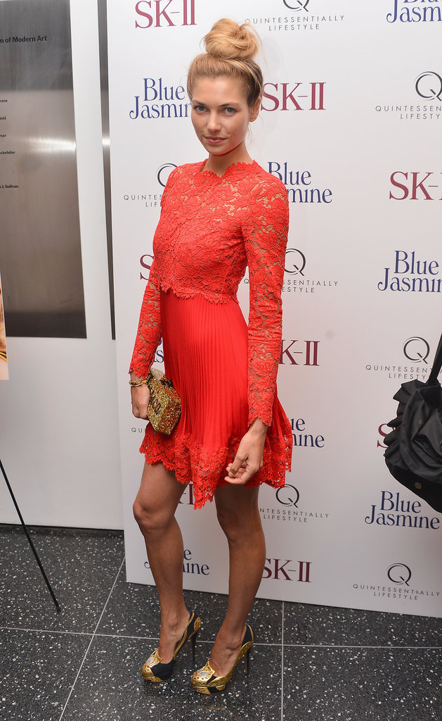 Jessica Hart stood out in a bright lacy dress for the New York premiere of Blue Jasmine.