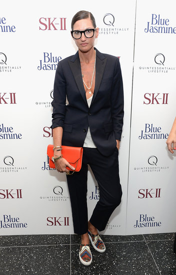 At the Blue Jasmine premiere, Jenna Lyons added colorful accessories to her slim black suit.