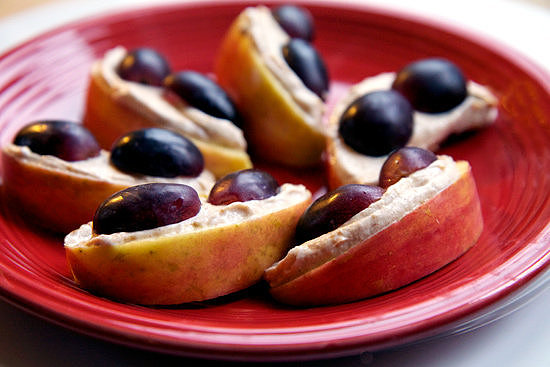 Crunchy: Peanutty Apples With Grapes