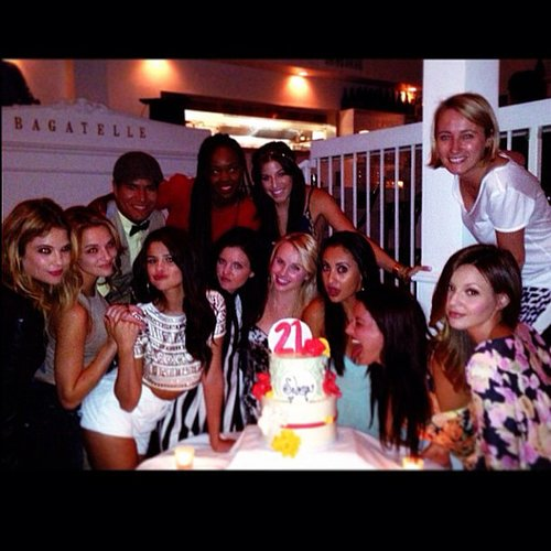 Selena Gomez gathered around her 21st birthday cake with her friends. Source: Instagram user selenagomez