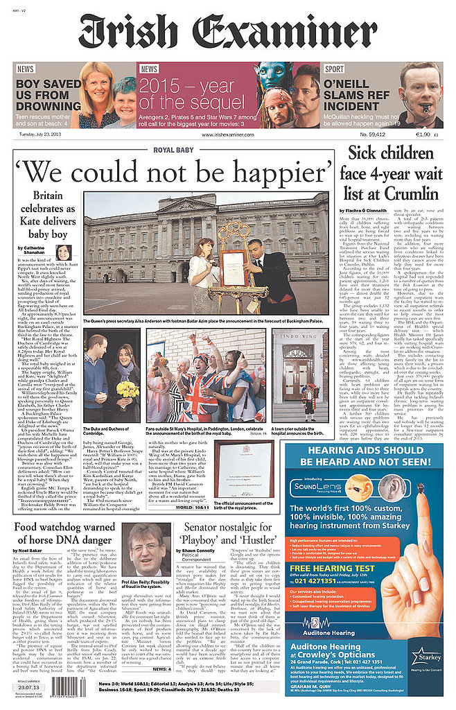 The front page of Irish Examiner on July 23.
