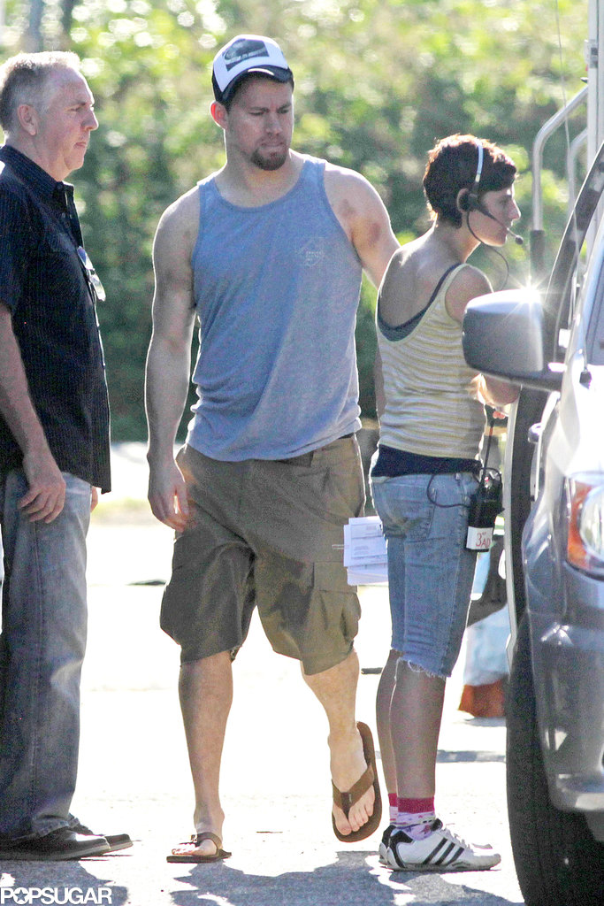 Channing Tatum showed off his muscles in a tank top to visit his wife, Jenna Dewan, on her Witches of East End set in Vancouver.