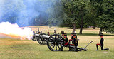 In London's Green Park, a 21-gun salute honored the royal baby's birth.
