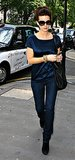 Kate Beckinsale married navy and black on a London shopping trip in June 2008.