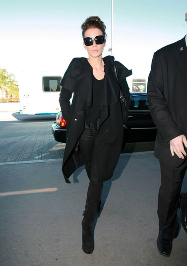 From her sleek square shades to her sexy suede boots, Kate's 2012 LAX look was monochrome magic.