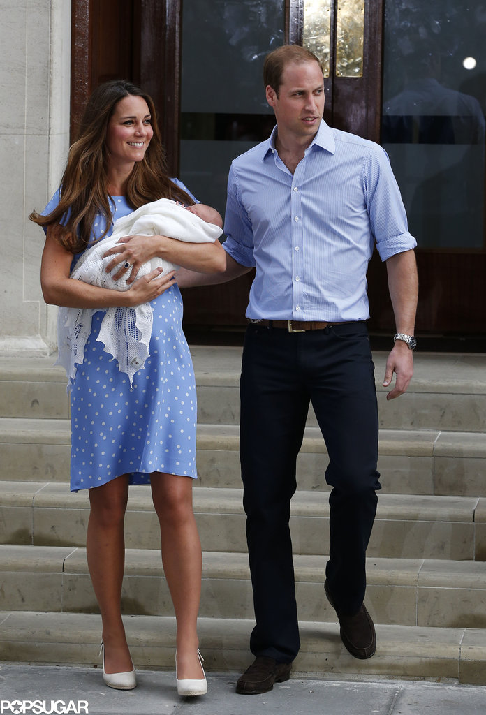 Prince William had his arm around Kate Middleton when the couple left St. Mary's Hospital with the royal baby.
