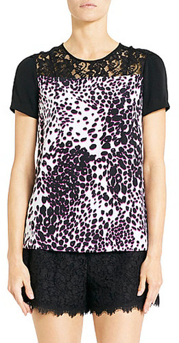 Ainslee Silk and Lace  Tee In Leopard Rain Spots Halo Raspberry